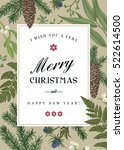 greeting christmas card in... | Shutterstock .eps vector #522614500