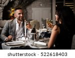 couple with champagne glasses... | Shutterstock . vector #522618403