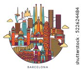 barcelona skyline detailed... | Shutterstock .eps vector #522624484