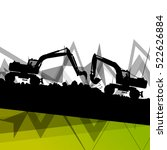 digger excavator machinery... | Shutterstock .eps vector #522626884