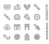 Set Line Icons Of Motorcycle...