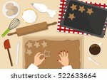 woman baking christmas... | Shutterstock .eps vector #522633664