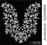 embroidery ethnic flowers neck... | Shutterstock .eps vector #522635800