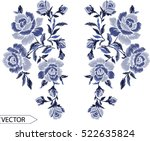 Stock vector embroidery ethnic flowers neck line flower design graphics fashion wearing 522635824