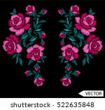 embroidery ethnic flowers neck... | Shutterstock .eps vector #522635848