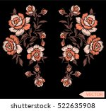 embroidery ethnic flowers neck... | Shutterstock .eps vector #522635908