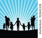 family with children enjoy... | Shutterstock .eps vector #522641128
