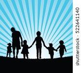 family big with children enjoy... | Shutterstock .eps vector #522641140