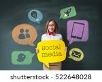 woman and social network concept | Shutterstock . vector #522648028