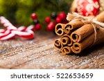 bunch of cinnamon sticks on...   Shutterstock . vector #522653659
