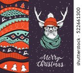 christmas card with deer in...   Shutterstock .eps vector #522661300