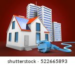 3d illustration of modern house ... | Shutterstock . vector #522665893