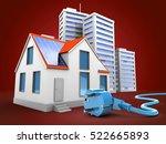 3d illustration of modern house ... | Shutterstock . vector #522665893