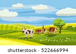 lovely country rural landscape  ... | Shutterstock .eps vector #522666994