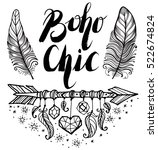 boho style. inspirational quote.... | Shutterstock .eps vector #522674824