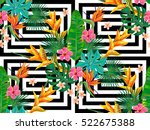 summer jungle pattern with... | Shutterstock .eps vector #522675388