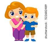 illustration of mother teaching ... | Shutterstock .eps vector #522682489