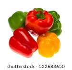 colored peppers on white... | Shutterstock . vector #522683650