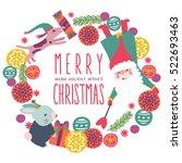 merry christmas wreath vector | Shutterstock .eps vector #522693463