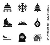 winter icons set. simple... | Shutterstock .eps vector #522698533