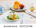 poached egg on rice   breakfast ... | Shutterstock . vector #522712768