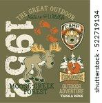 cute moose great outdoor... | Shutterstock .eps vector #522719134