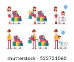 family shopping on white... | Shutterstock .eps vector #522721060