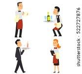 waiter and waitress restaurant. ... | Shutterstock .eps vector #522727876