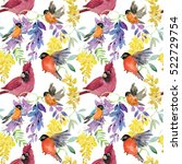 watercolor birds and flowers.... | Shutterstock . vector #522729754