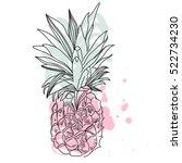 pineapple tropical fruit.... | Shutterstock .eps vector #522734230