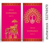 india invitation card  gold... | Shutterstock .eps vector #522743470
