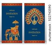 india invitation card  gold... | Shutterstock .eps vector #522743590
