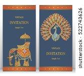 india invitation card  gold... | Shutterstock .eps vector #522743626