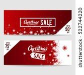 christmas sale banner vector... | Shutterstock .eps vector #522744220