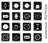 time and clock set icons in...