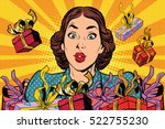 beautiful retro girl and... | Shutterstock .eps vector #522755230