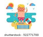 cartoon man on vacation | Shutterstock .eps vector #522771700