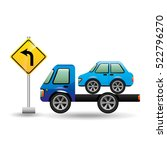 truck crane and car with road... | Shutterstock .eps vector #522796270