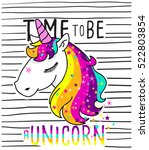 Stock vector cute magical unicorn sweet kids graphics for t shirts 522803854