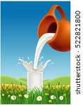 milk pouring to glass on grass... | Shutterstock .eps vector #522821800