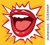 smile red lips on a background... | Shutterstock .eps vector #522834469