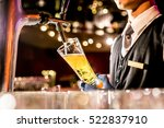 barman hands pouring a lager... | Shutterstock . vector #522837910