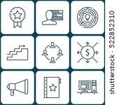set of 9 project management... | Shutterstock .eps vector #522852310