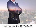 double exposure of businessman... | Shutterstock . vector #522867628