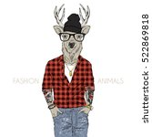 Stock vector hipster deer dressed up in plaid shirt furry art illustration fashion animals hipster animals 522869818