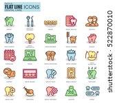 thin line dental care ... | Shutterstock .eps vector #522870010