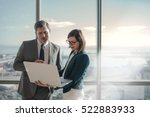 businessman and businesswoman...   Shutterstock . vector #522883933