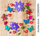 colorful flowers and homemade... | Shutterstock . vector #522885094