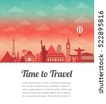 travel composition with famous... | Shutterstock .eps vector #522895816