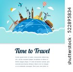 travel composition with famous... | Shutterstock .eps vector #522895834